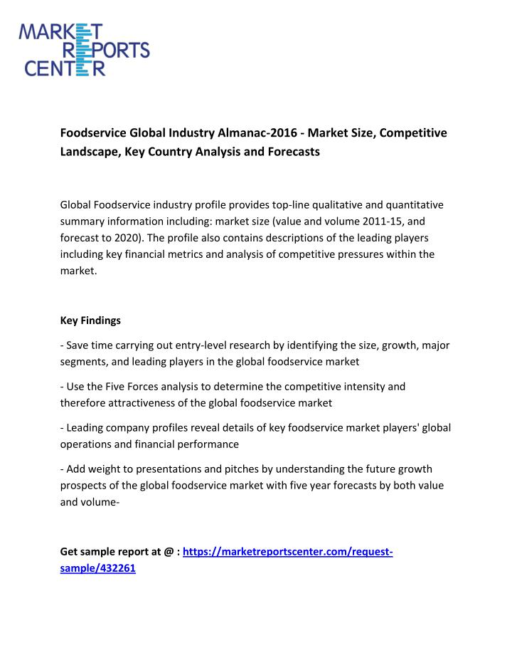 PPT - Foodservice Global Industry Almanac-2016 - Market Size