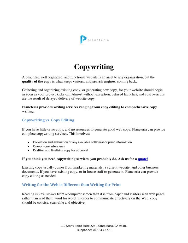PPT - Content Copy Writing - Planeteria Media PowerPoint