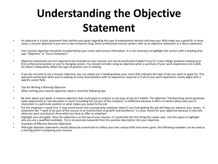 PPT - Resume Objective Samples PowerPoint Presentation - ID7619933