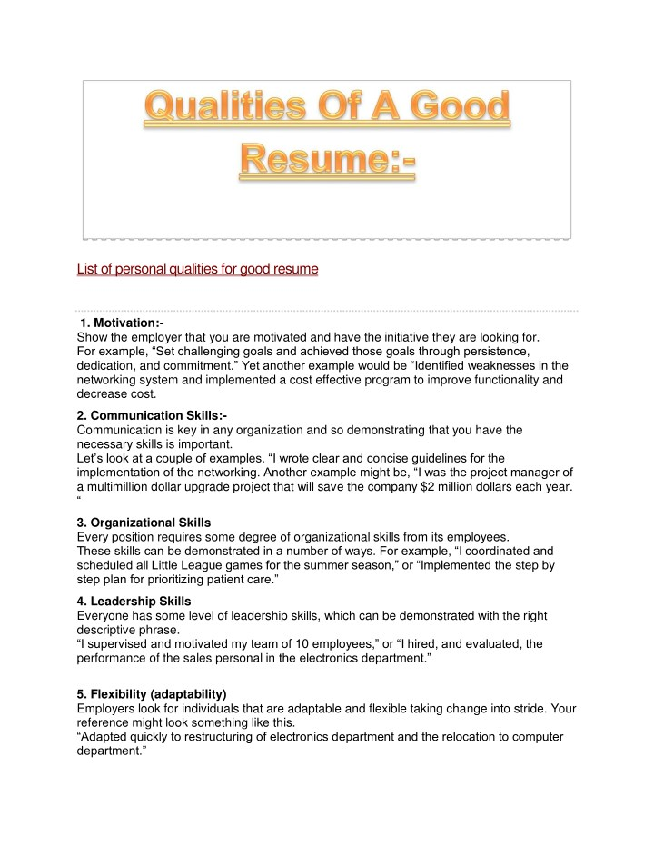 qualities for resume pelosleclairecom. fieldstationco good qualities ...