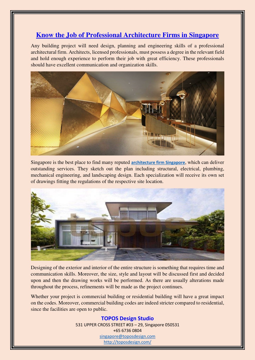 Design Firms In Singapore Ppt Know The Job Of Professional Architecture Firms In Singapore