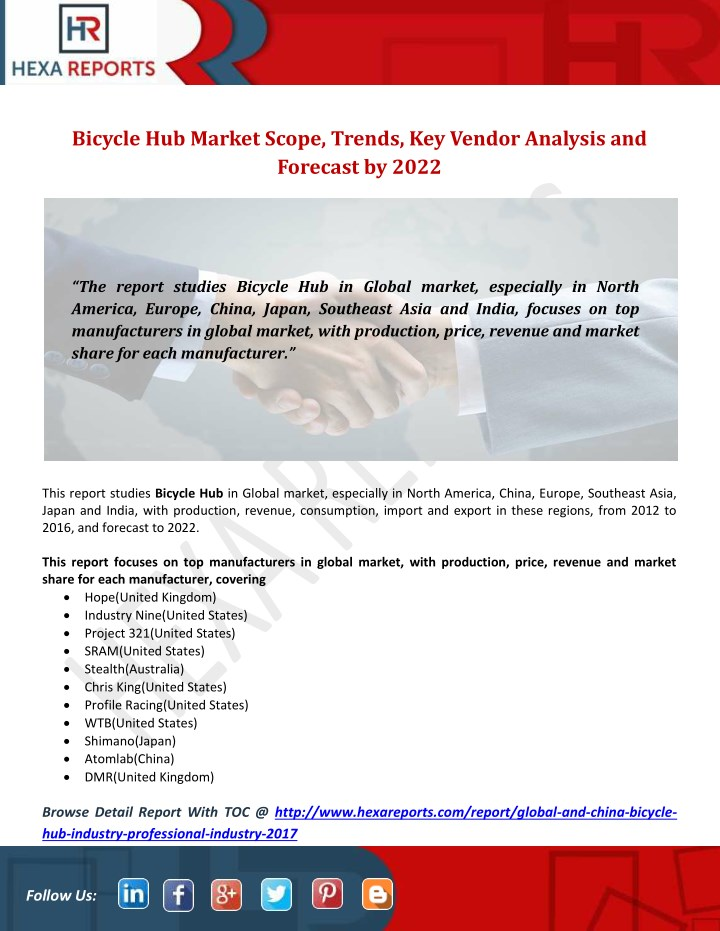 PPT - Bicycle Hub Market Scope, Trends, Key Vendor Analysis and