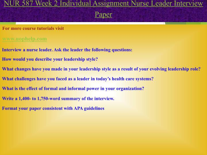 PPT - NUR 587 Read, Lead, Succeed/Uophelp PowerPoint