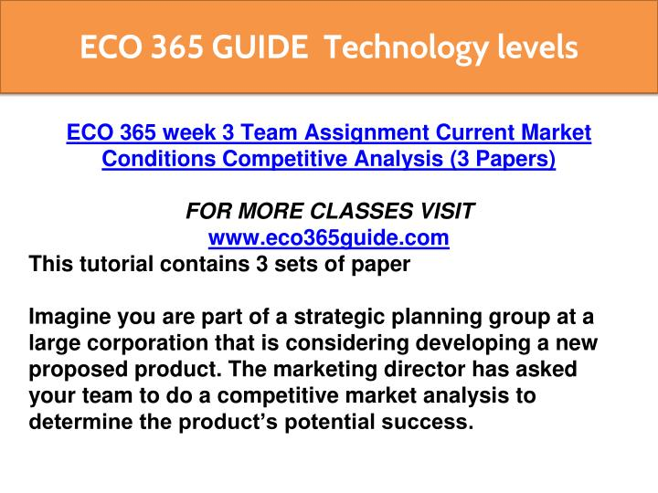 Current market conditions competitive analysis College paper - competitive market analysis