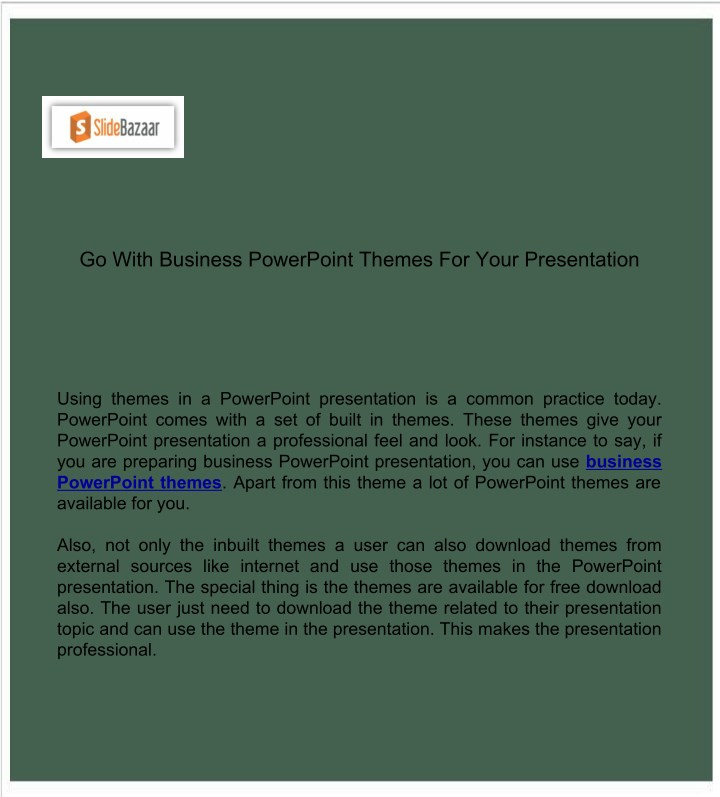 PPT - Go With Business PowerPoint Themes For Your Presentation