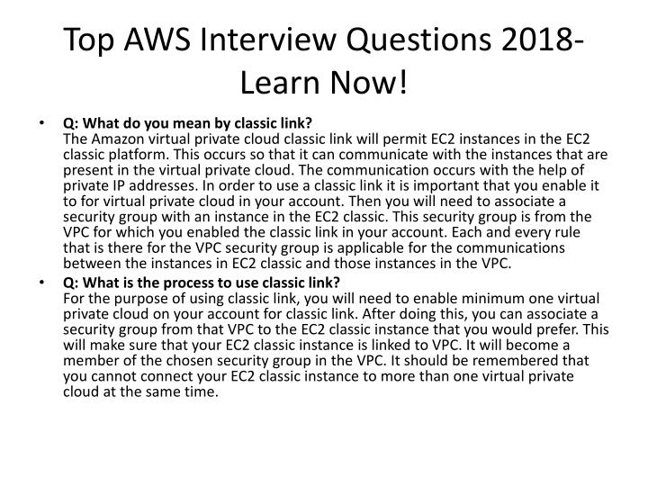PPT - The Best AWS Interview Questions  Answers 2018 - Learn Now - Best Interview Answers
