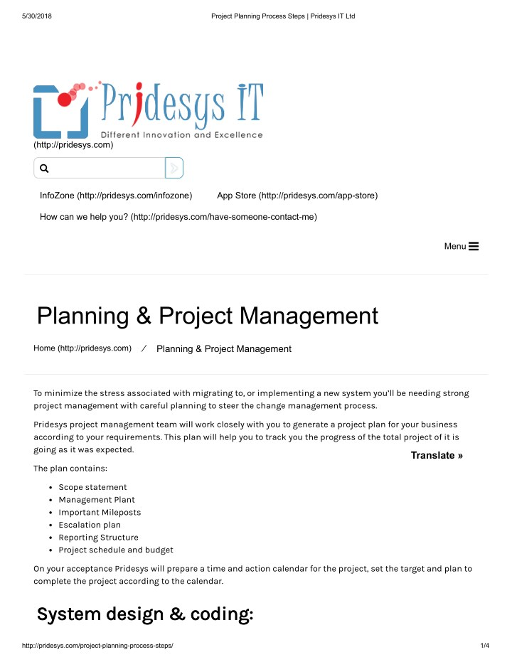 PPT - Project Planning Process Steps Pridesys IT Ltd PowerPoint
