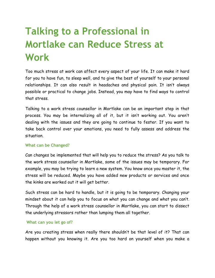 PPT - Talking to a Professional in Mortlake can Reduce Stress at