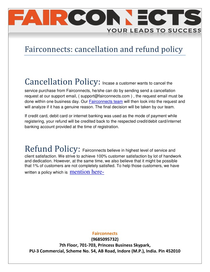 PPT - Fairconnects Cancellation and Refund policy PowerPoint