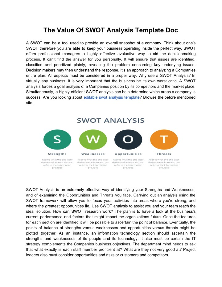 Enchanting Swot Template Doc Gallery - Resume Ideas - namanasa