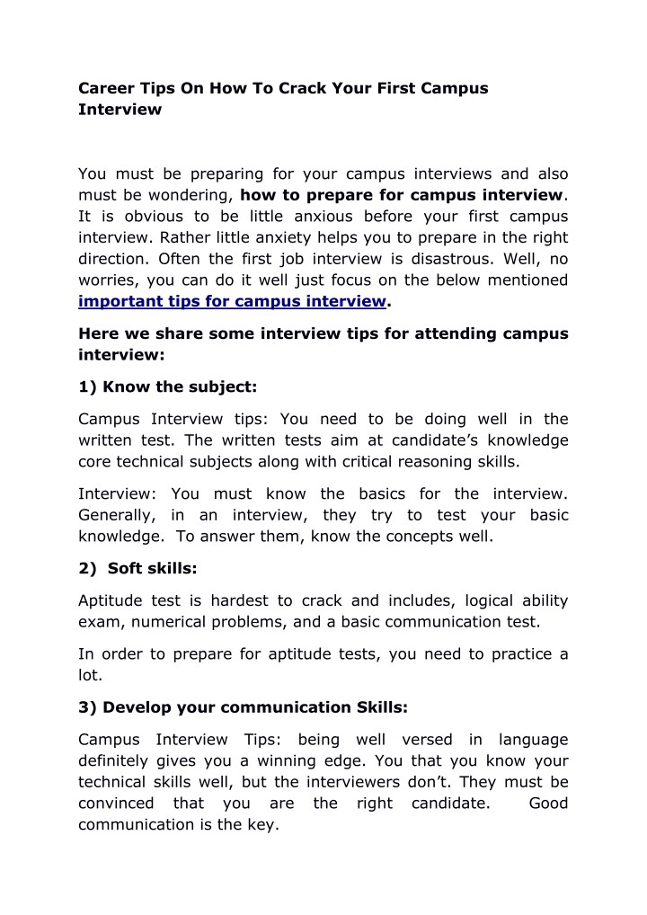 PPT - Career Tips On How To Crack Your First Campus Interview