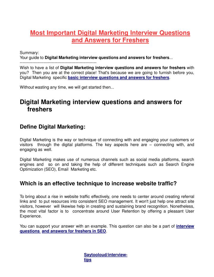 PPT - Most Important Digital Marketing Interview Questions and - marketing interview questions