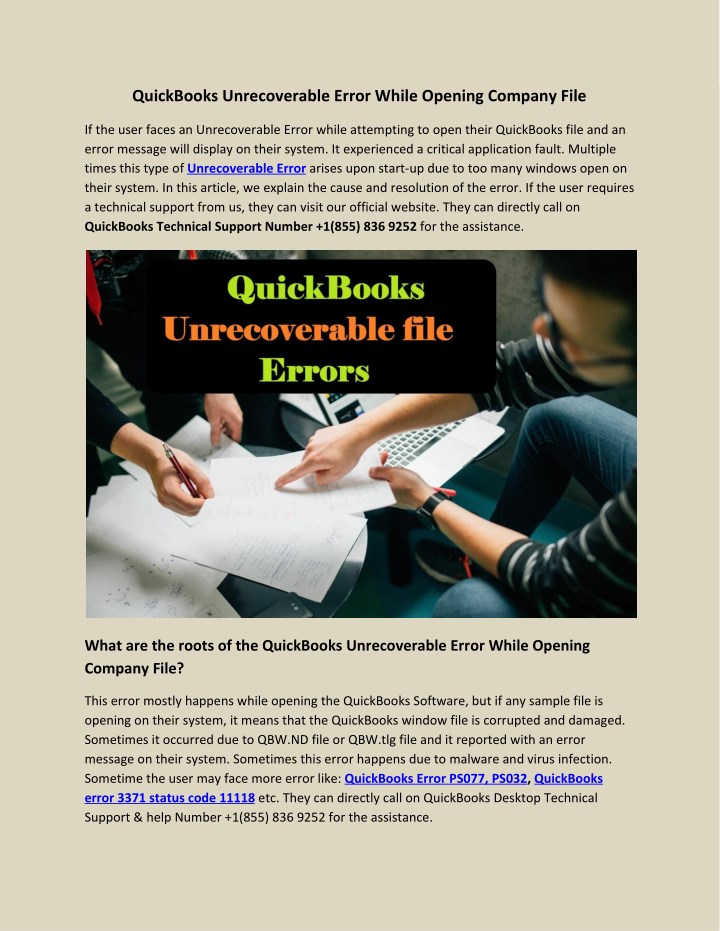PPT - QuickBooks Unrecoverable Error While Opening Company File - Quickbooks Unrecoverable Error