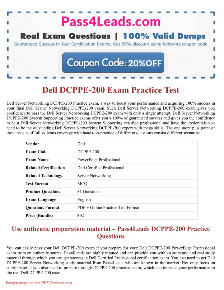PPT - Dell DCPPE-200 Exam Practice Questions - 2018 Updated