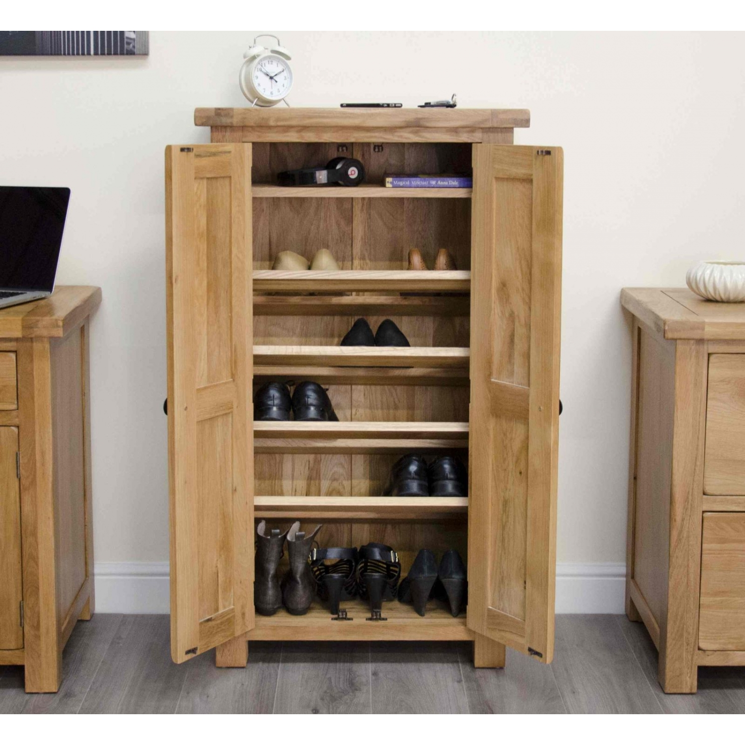Original rustic solid oak furniture shoe storage cabinet