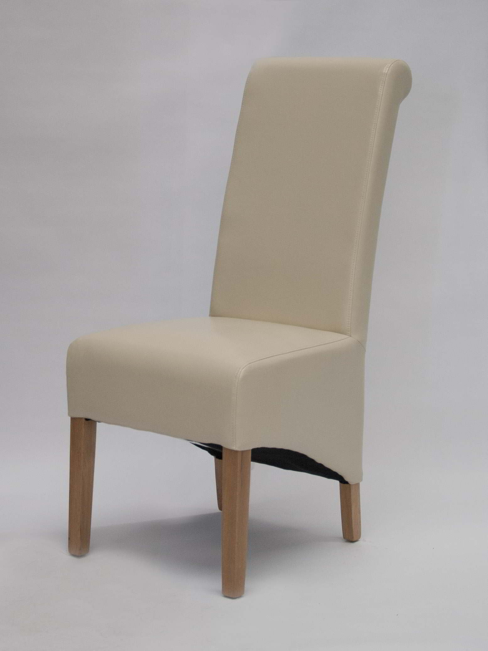Cream Leather Dining Chairs Kensington Solid Oak Furniture Set Of Six Cream Leather