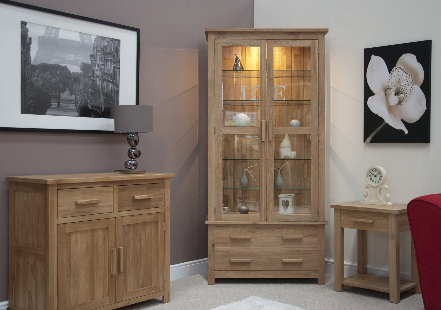 Clothing Cupboards Eton Solid Oak Living Room Furniture Glazed Display