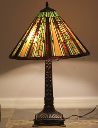 """Tiffany Style Stained Glass Mission Lamp """"Prairie"""" w/ 18 ..."""