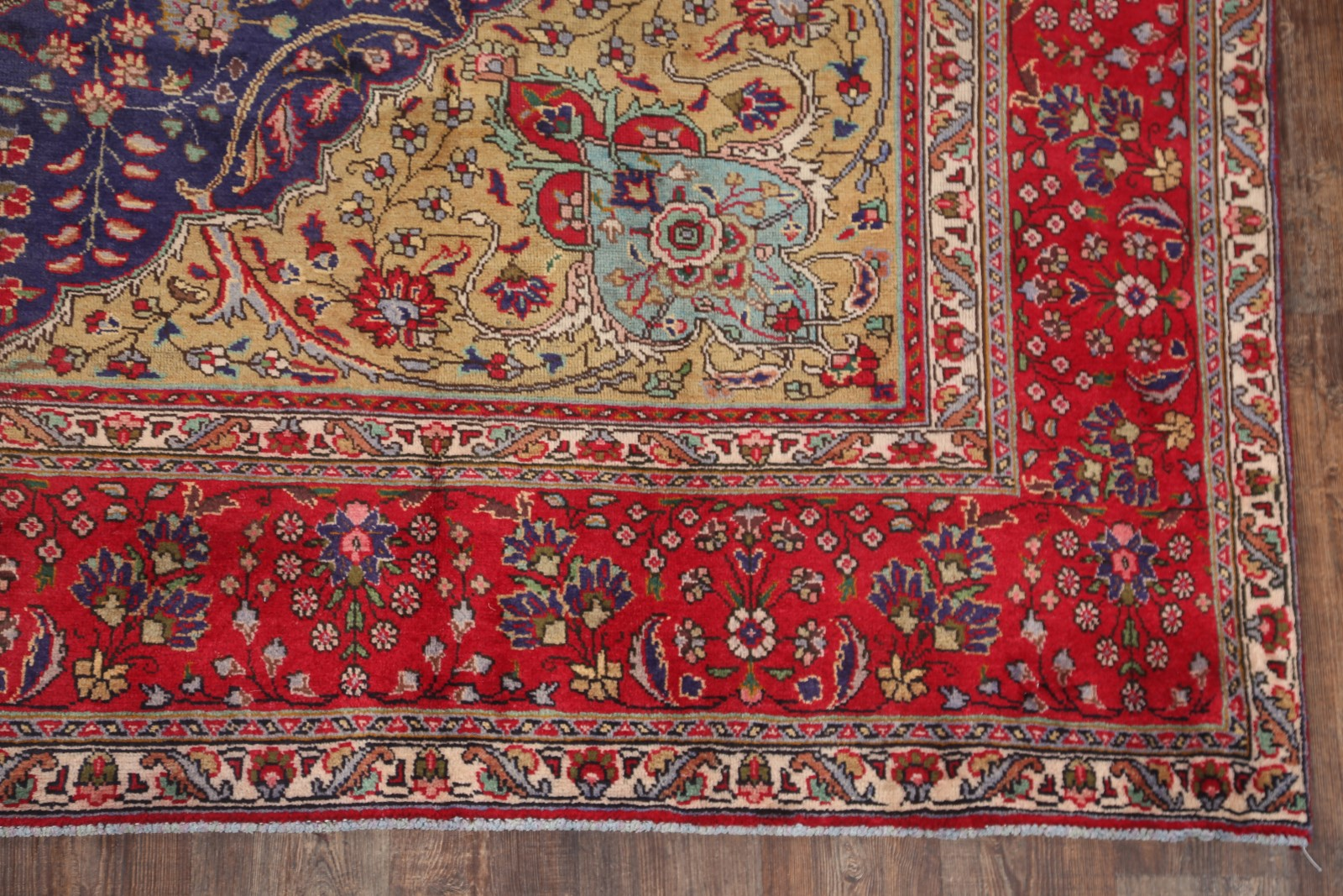 Red Oriental Rug Geometric Navy Blue Red 10x13 Tabriz Persian Oriental Area