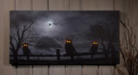Spooky Halloween LED Lighted Owl Witch Art Print Wall ...