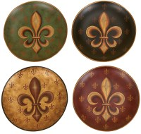 Set /4 Fleur De Lis Wall Decor Ceramic Plates 10""