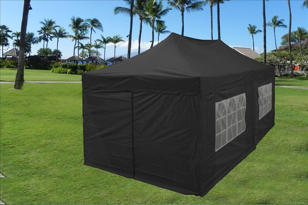 10\u0027x20\u0027 Enclosed Pop Up Canopy Party Folding Tent Gazebo - Black - E