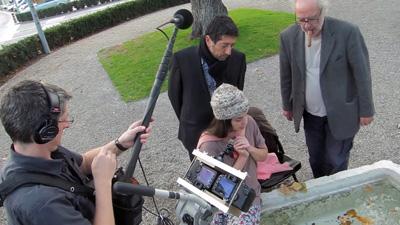 Godard, con un puro, durante el rodaje de la película.