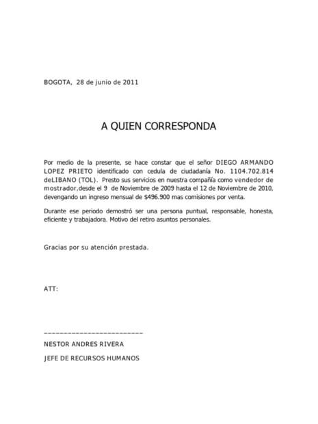 Ejemplo De Carta De Recomendacion Personal oakandale