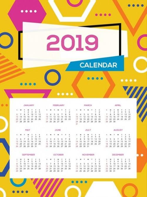 plantillas calendarios 2019