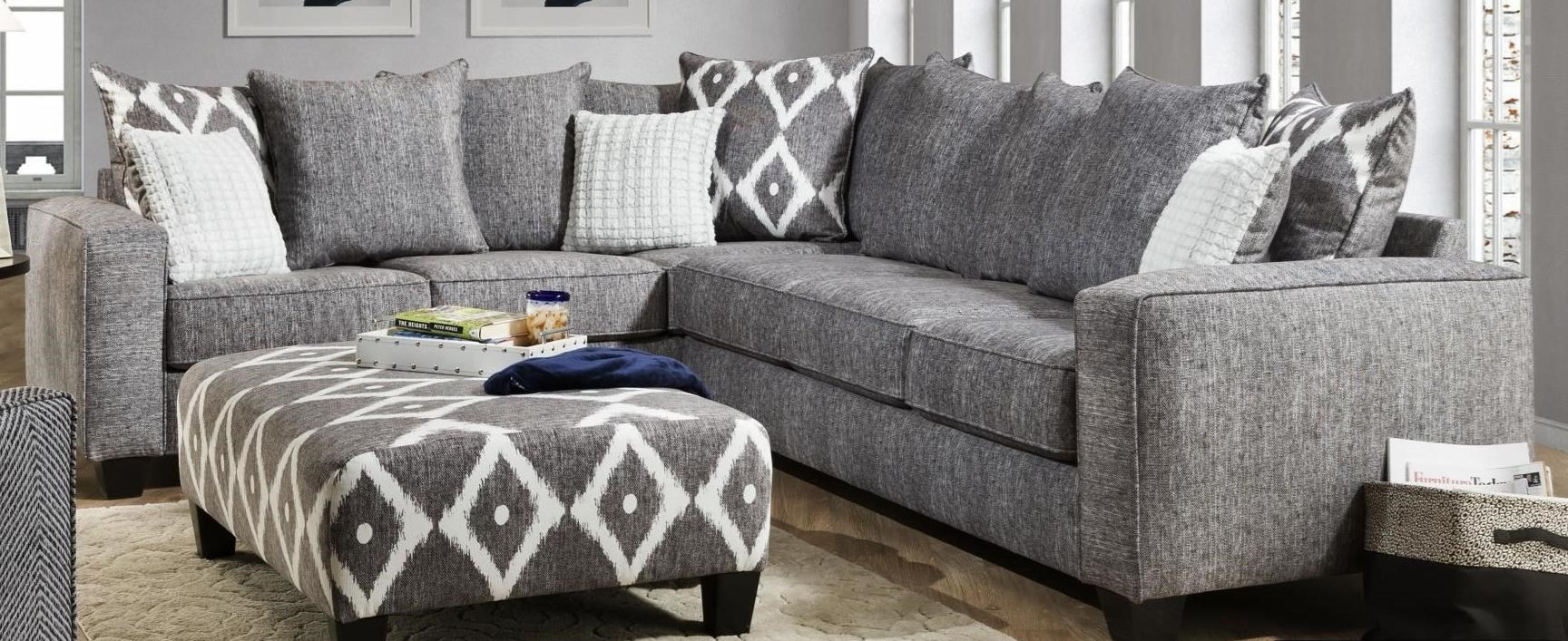 Albany Stonewash Contemporary 2 Piece Sectional In Gray Fabric Royal Furniture Sectional Sofas