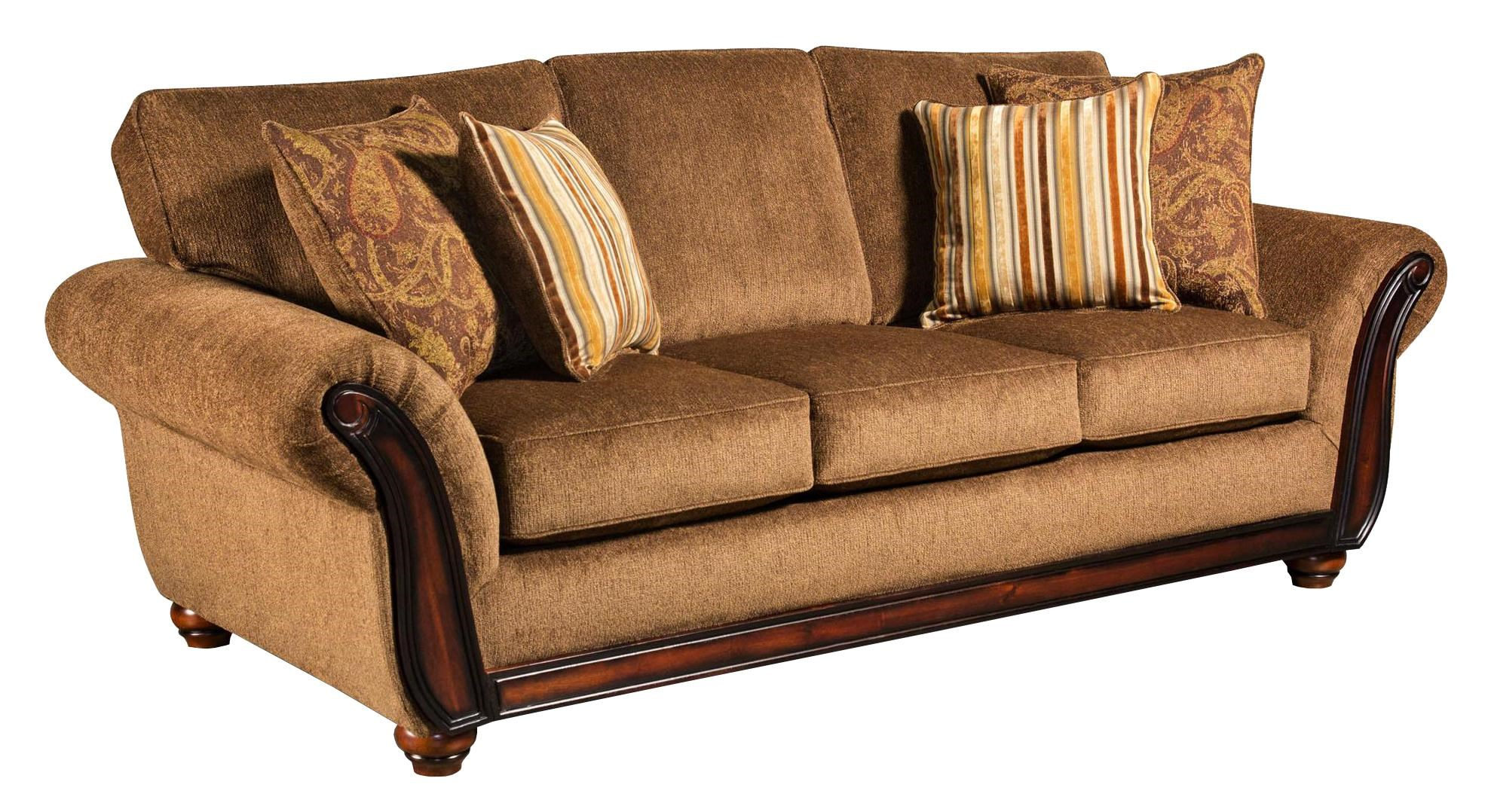 American Sofa Images 5650 Sofa With Wood Face On Arms By American Furniture At Prime Brothers Furniture