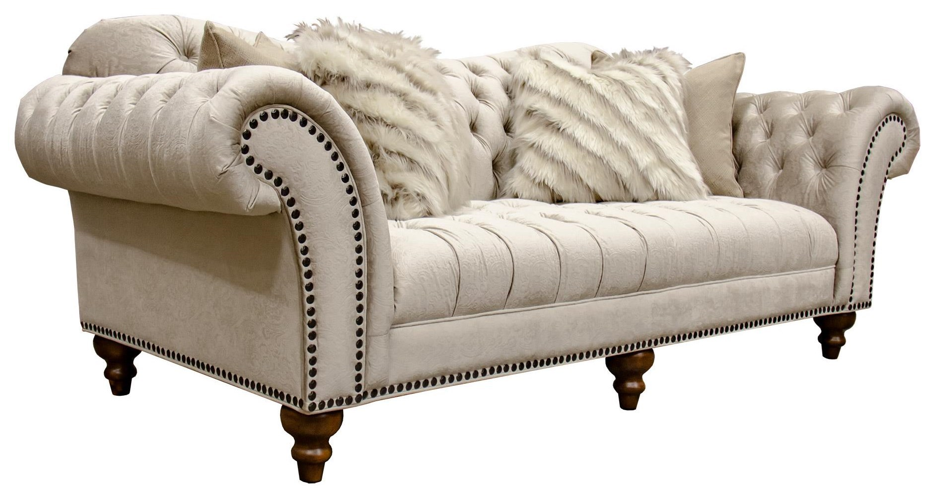 Sofa Outlet Paisley Lorraine Sand Paisley Tufted Sofa With Nailhead Trim By Aria Designs At Great American Home Store