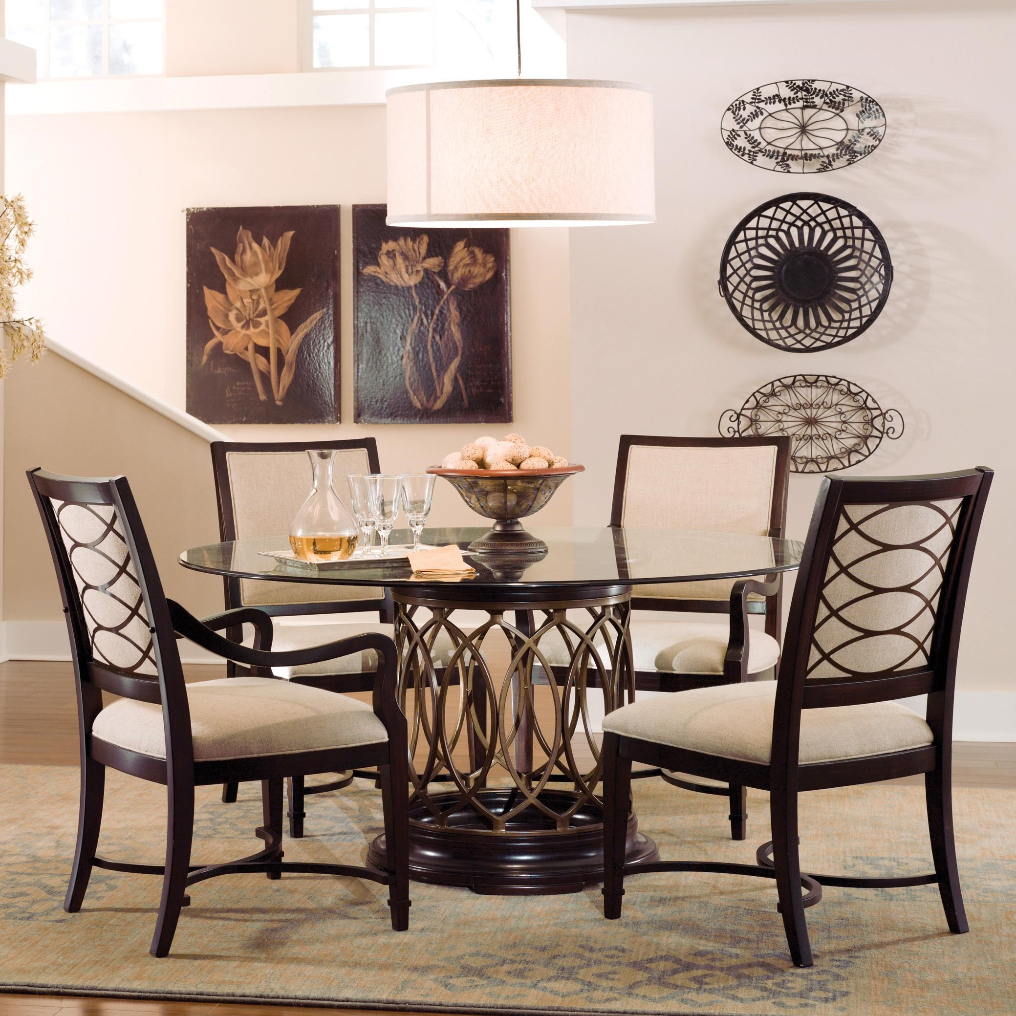 Round Glass Top Dining Table A R T Furniture Inc Intrigue Round Glass Top Dining Table With