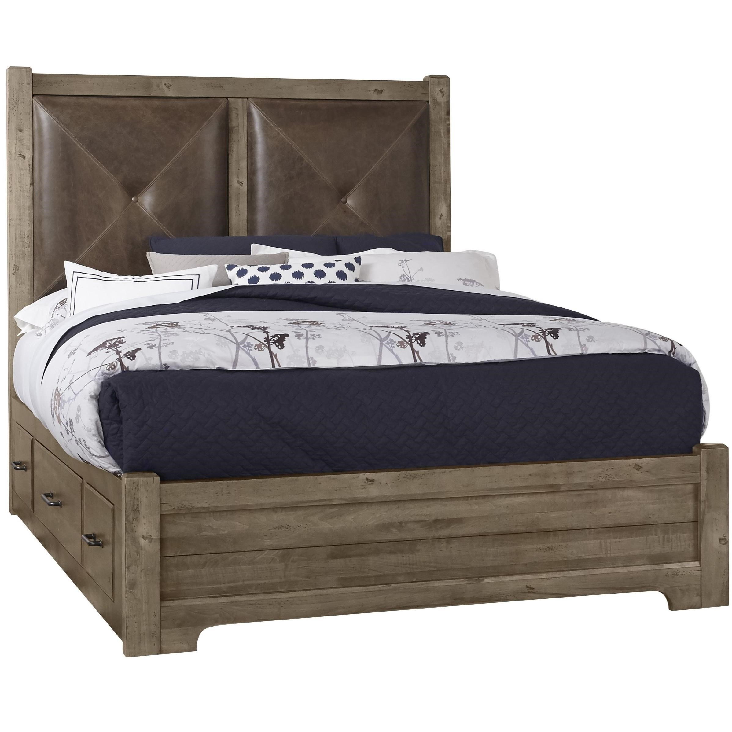 Leather Bed Frame Cool Rustic Solid Wood Queen Leather Headboard Bed With Double Side Storage By Artisan Post At Lapeer Furniture Mattress Center