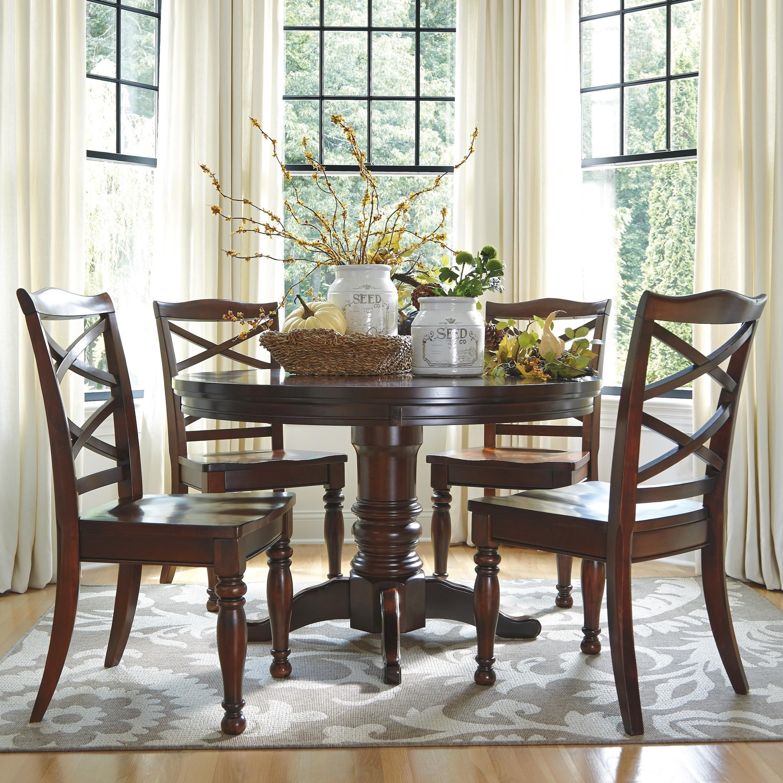 Round Dining Table With Extensions Porter 5 Piece Round Dining Table Set By Ashley Furniture At L Fish