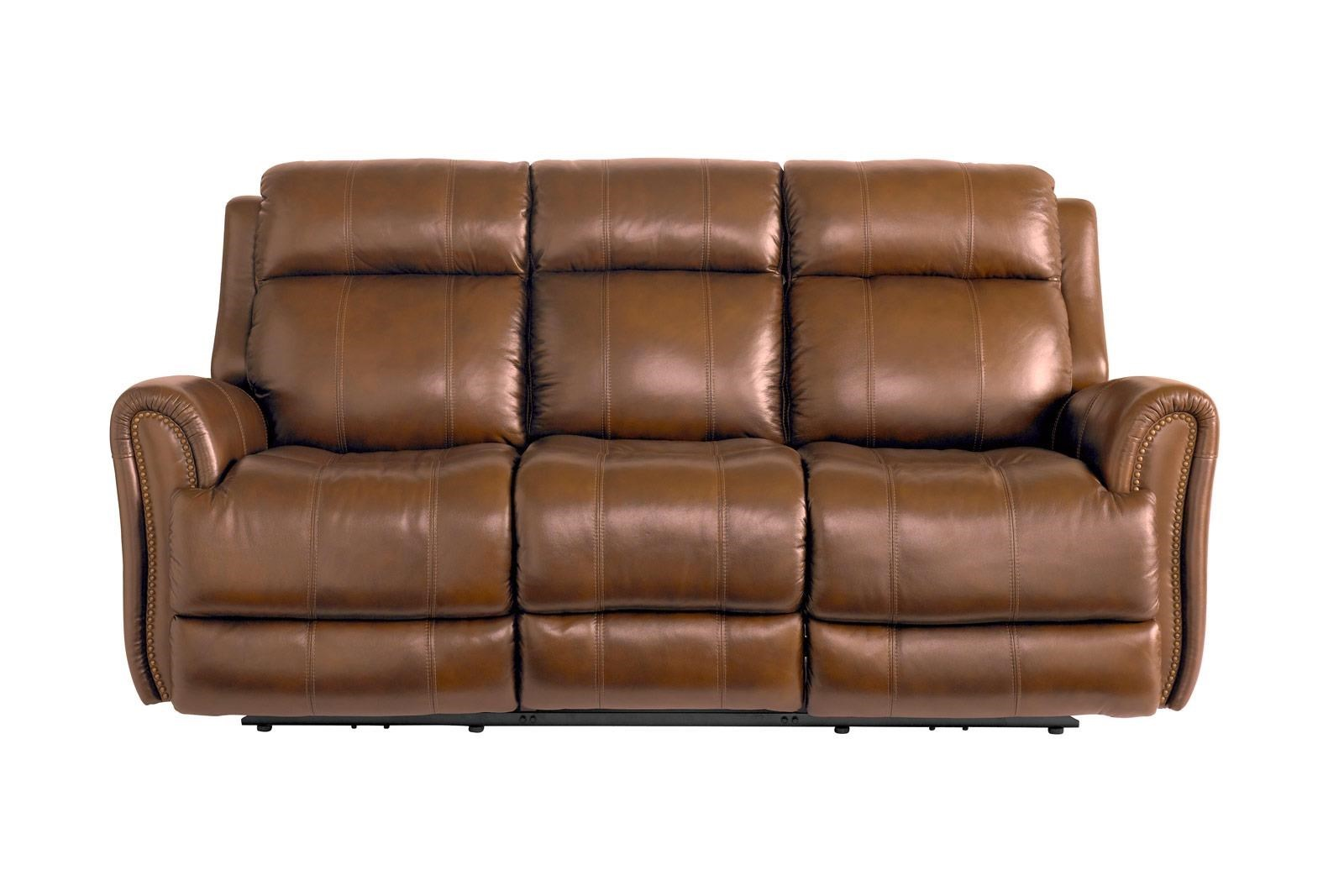 Sofa With Recliner Marquee Umber Leather Power Reclining Sofa With Power Headrest By Bassett At Great American Home Store