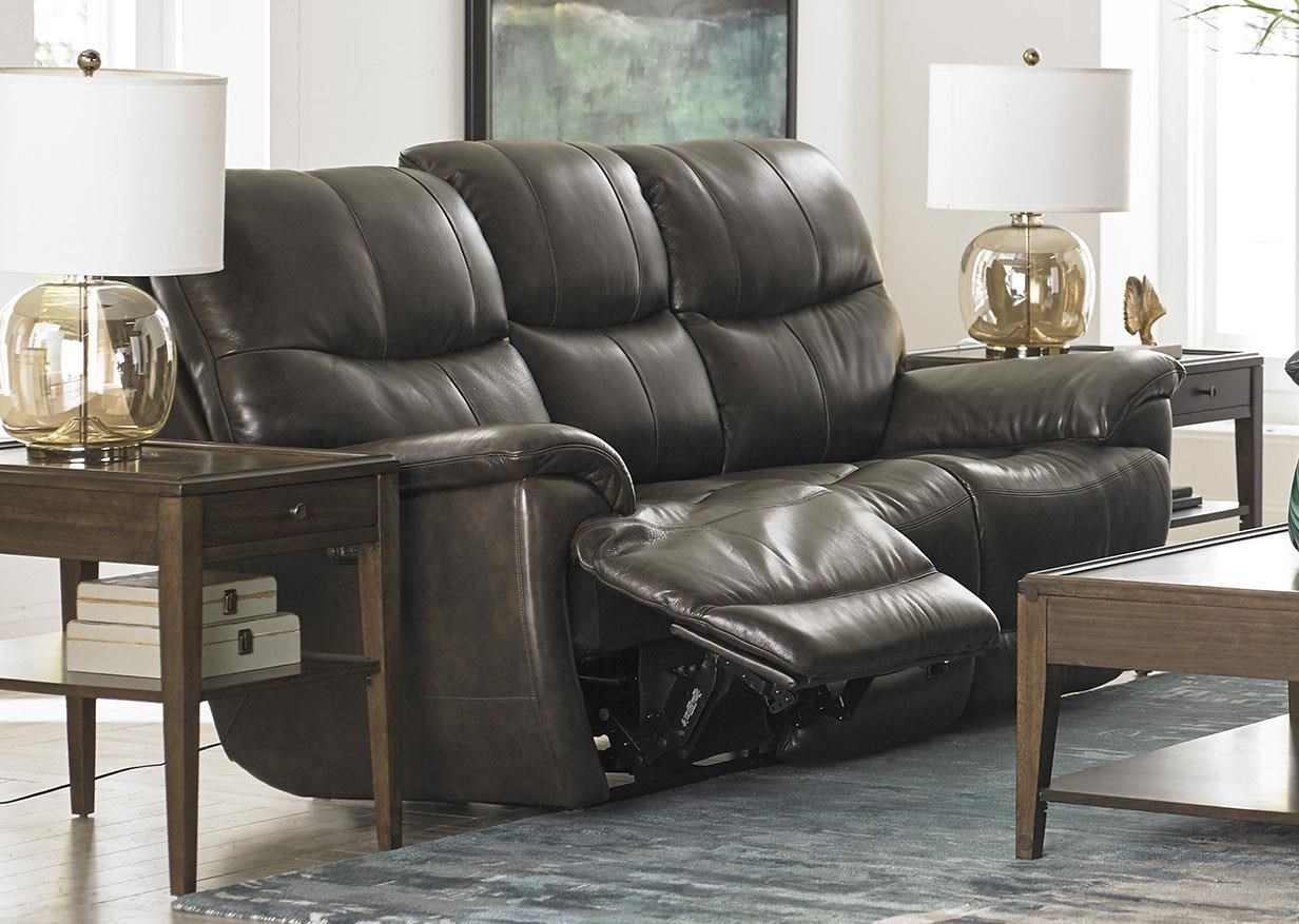 Sofa With Recliner Brookville Leather Reclining Sofa With Power Head And Foot Rests By Bassett At Great American Home Store
