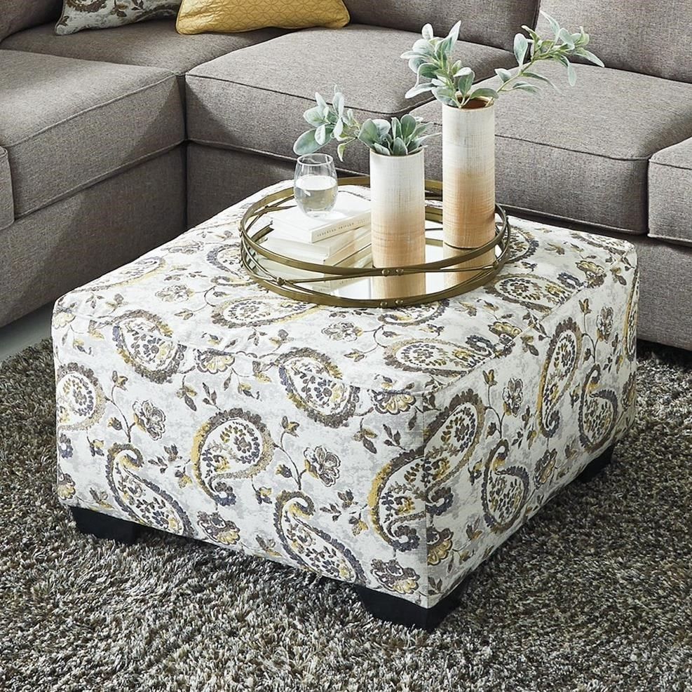 Sofa Outlet Paisley Renchen Oversized Paisley Accent Ottoman By Benchcraft By Ashley At Royal Furniture
