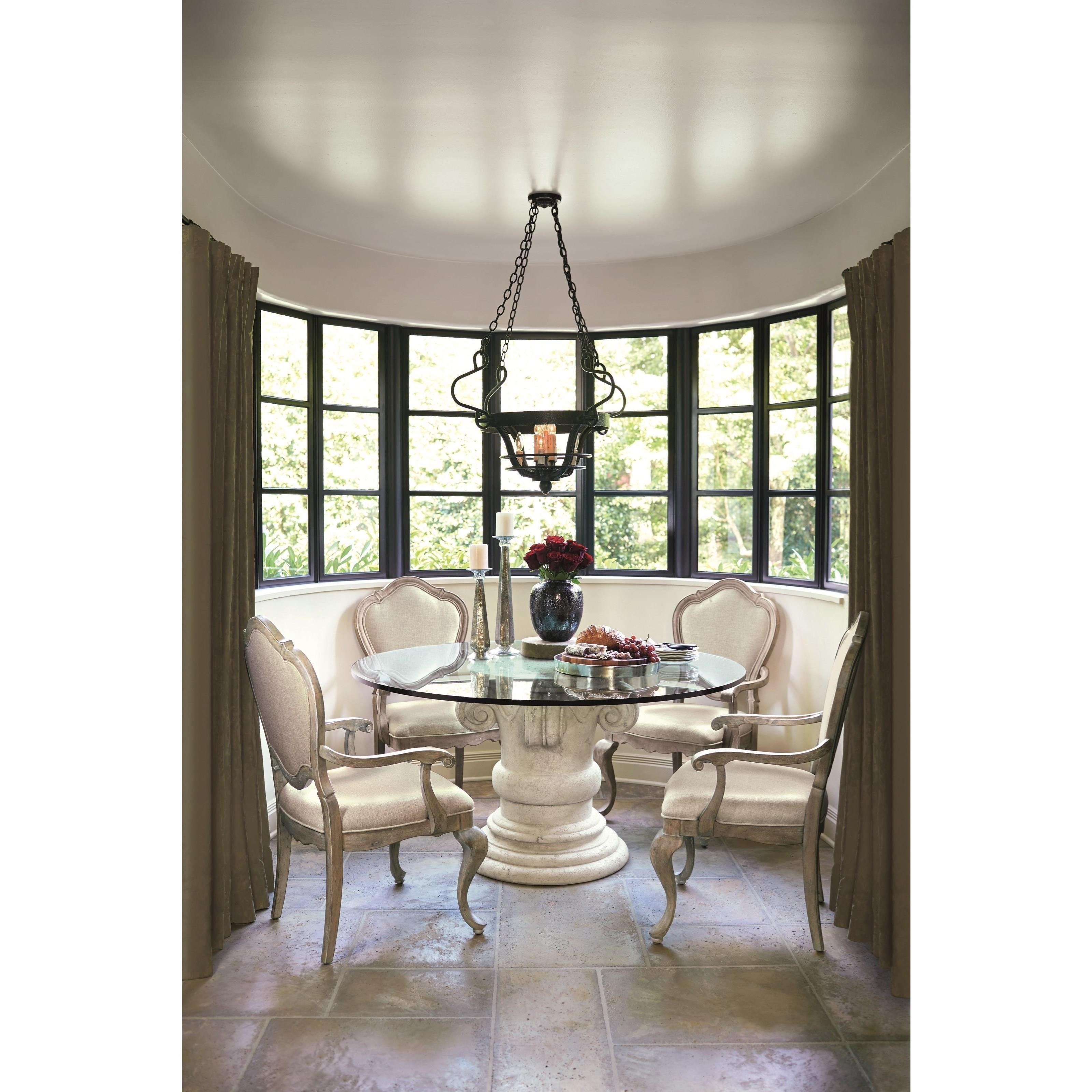 Round Glass Top Dining Table Bernhardt Campania Round Glass Top Dining Table With Crushed Stone