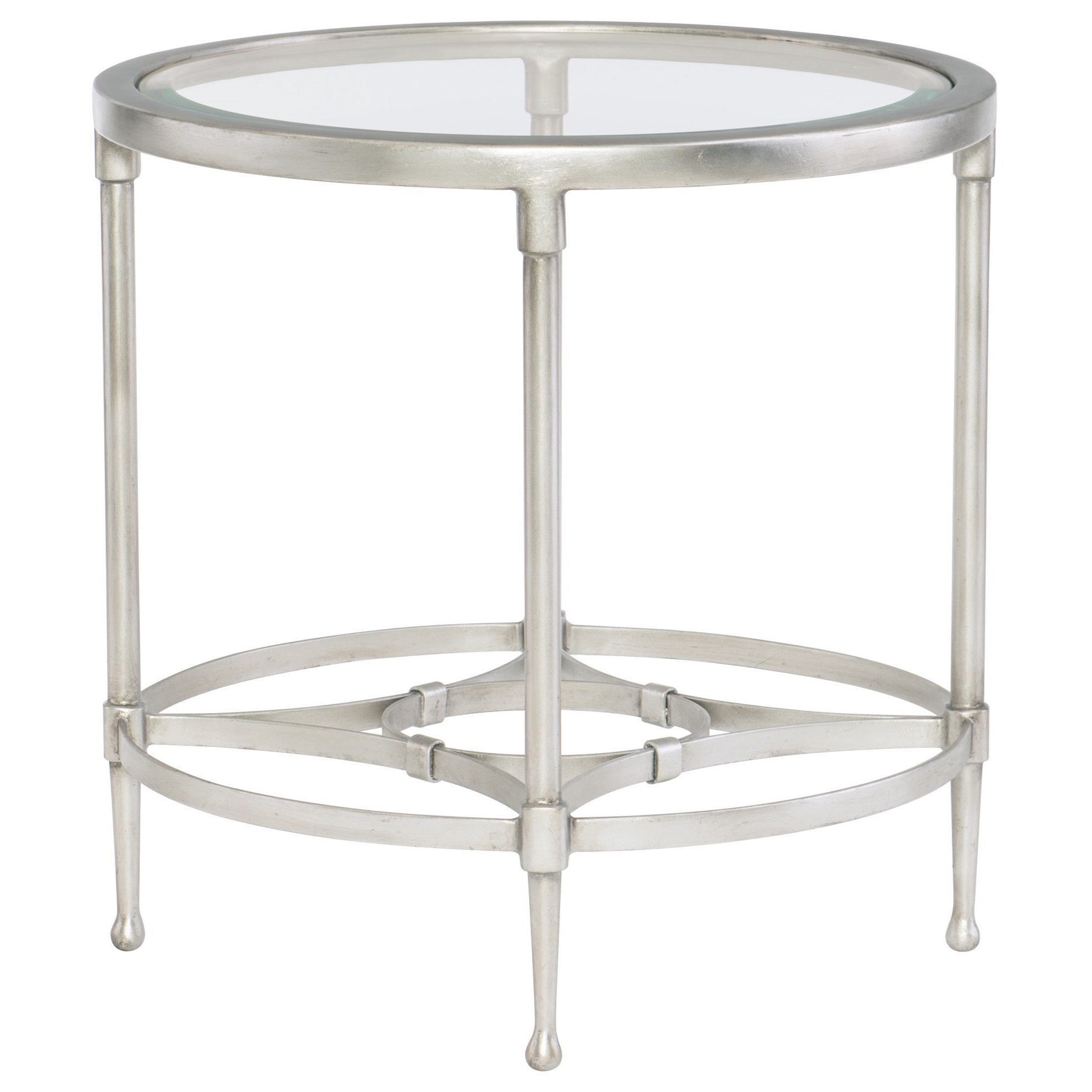 Metal Glass End Tables Cordelia Contemporary Round Metal End Table With Glass Top By Bernhardt At Dunk Bright Furniture