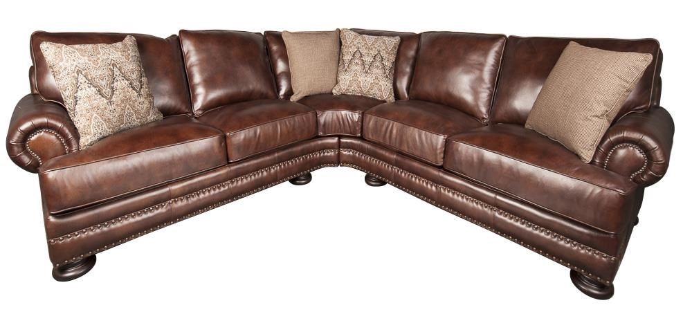 Brown Real Leather Couch Foster 100 Leather Sectional Sofa By Bernhardt At Morris Home