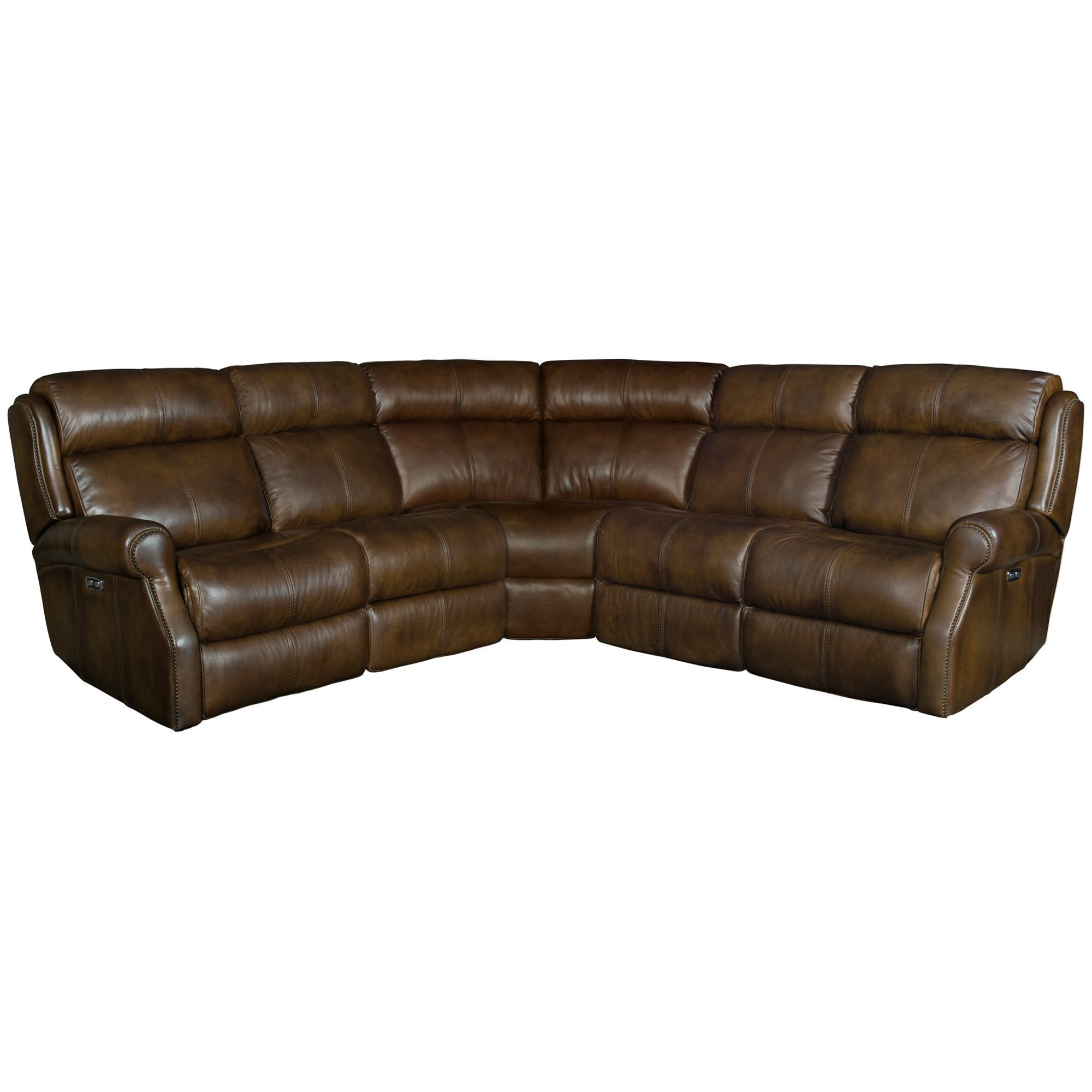 Leather Sectional Sofa Recliner Mcgwire Three Piece Power Reclining Leather Sectional Sofa With Power Tilt Headrests And Usb Charging Ports By Bernhardt At Dunk Bright Furniture