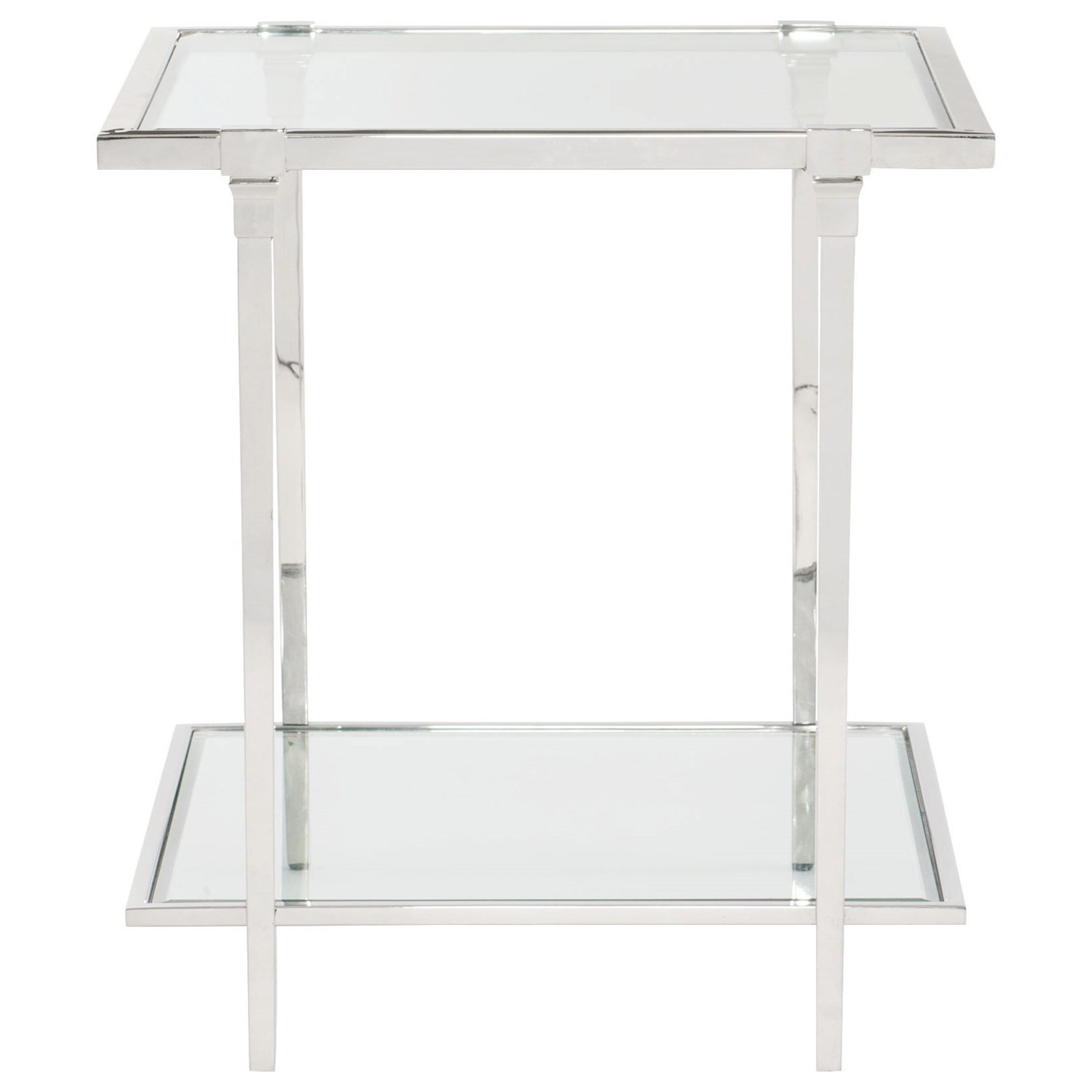Metal Glass End Tables Bernhardt Napier 448 121 Metal And Glass End Table With Shelf