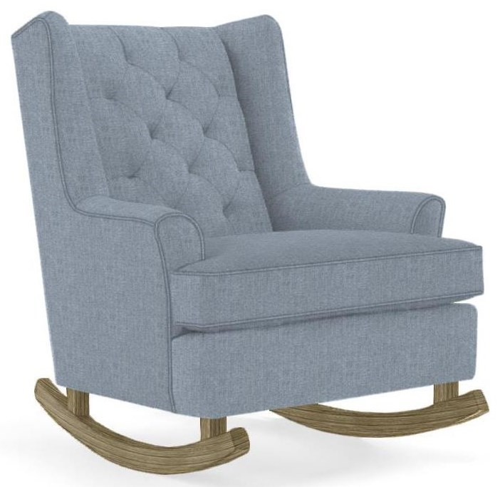 Wood Rocking Chair Runner Rockers Paisley Button Tufted Rocking Chair With Wood Runners By Best Home Furnishings At Zak S Home