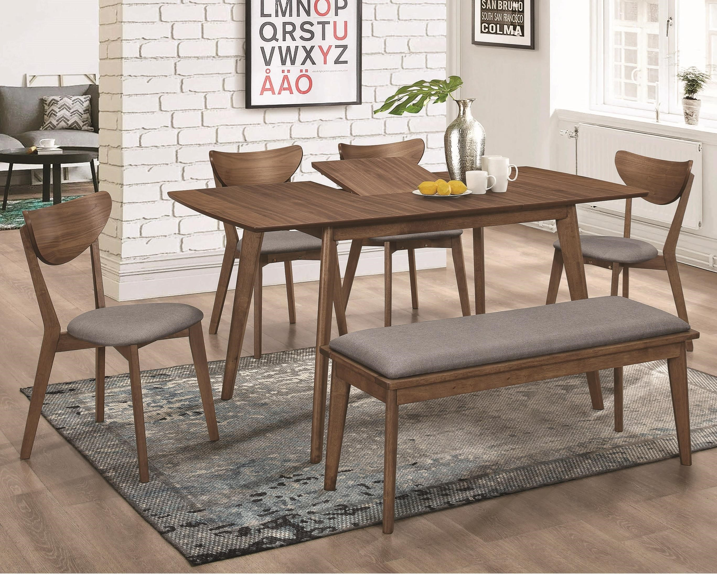 Modern Dining Room Furniture 1080 Mid Century Modern Table And Chair Set With Bench By Coaster At Dunk Bright Furniture