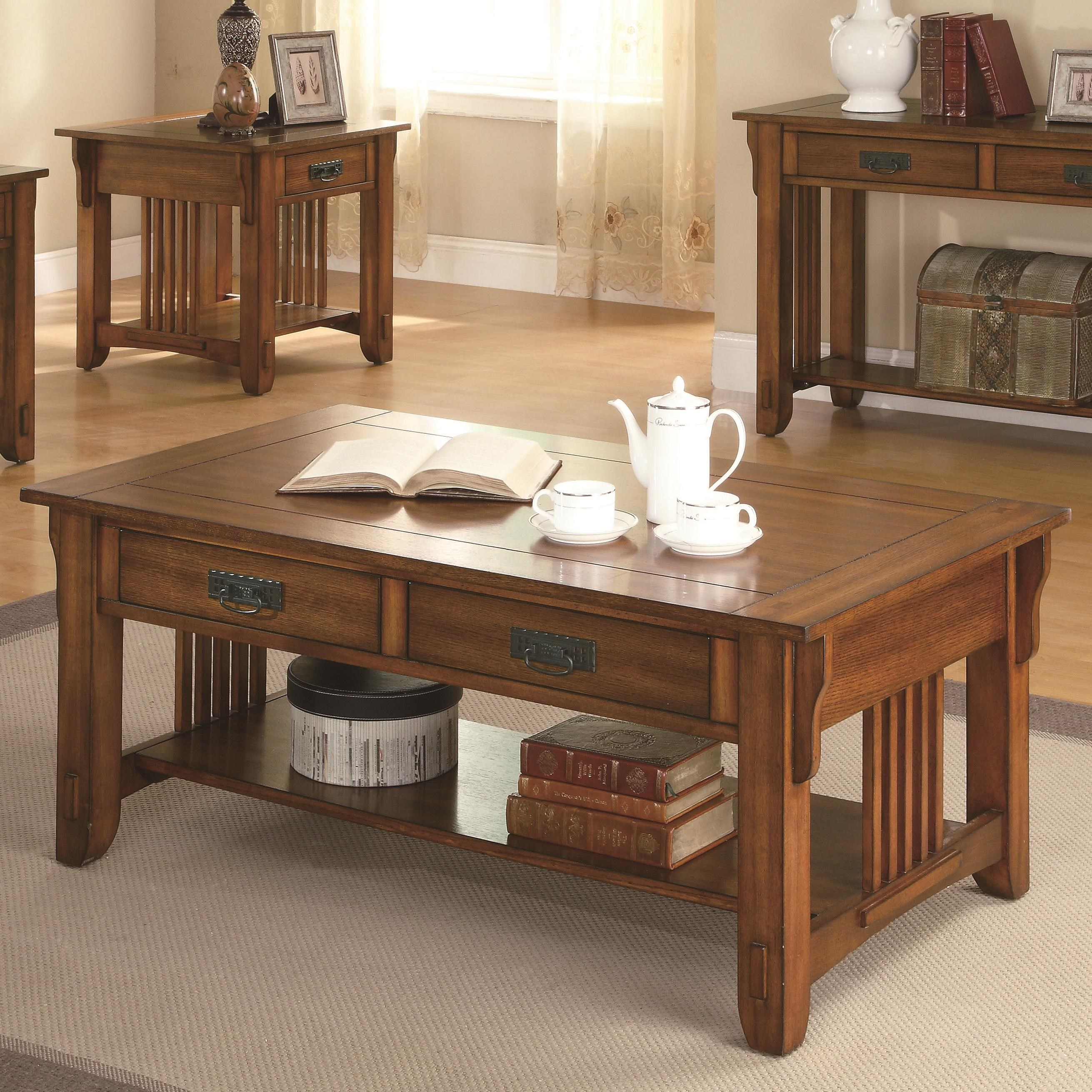 Beautiful Coffee Table Occasional Group 2 Drawer Coffee Table With Shelf By Coaster At Northeast Factory Direct