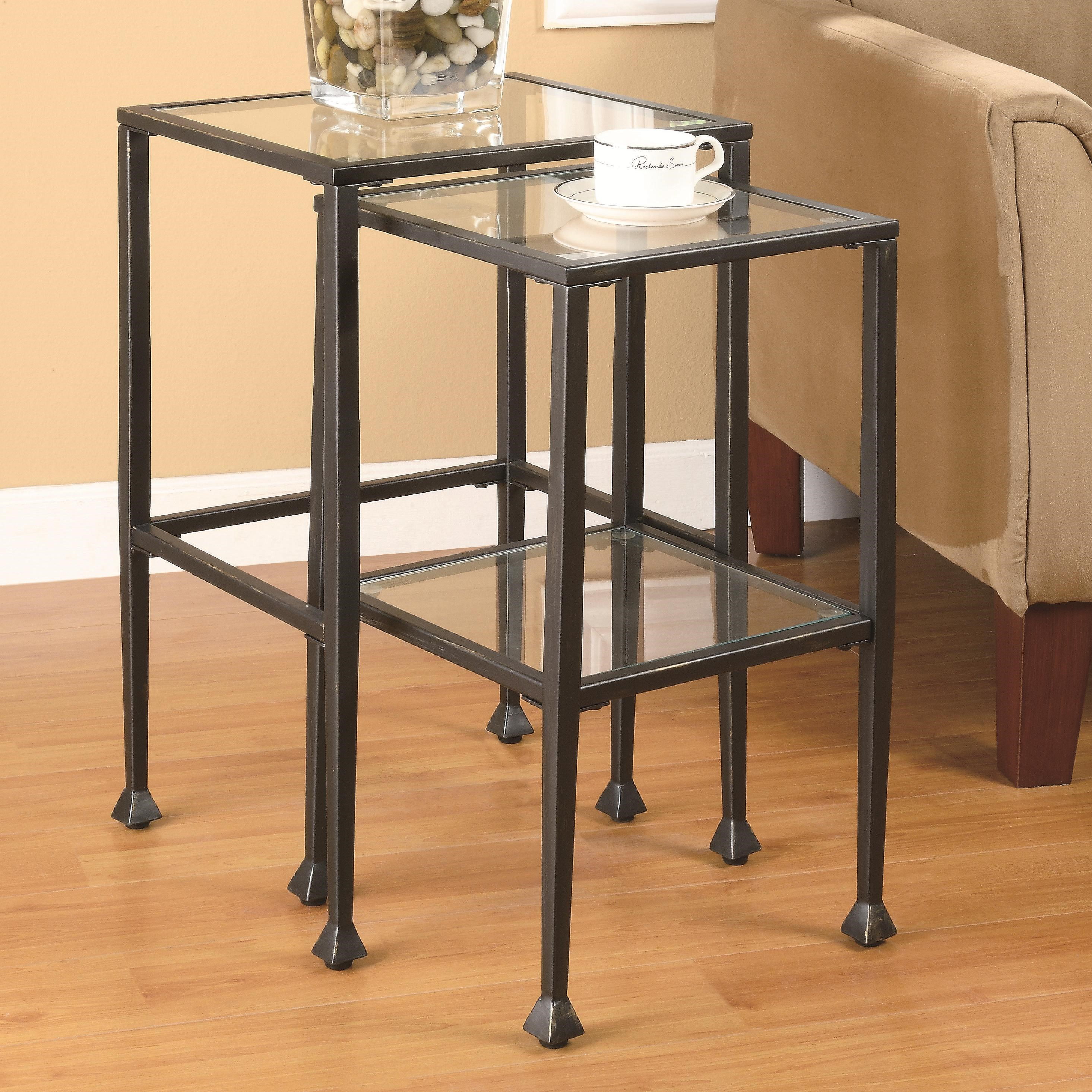Glass Nesting Tables Nesting Tables 2 Piece Glass And Metal Nesting Tables By Coaster At Value City Furniture