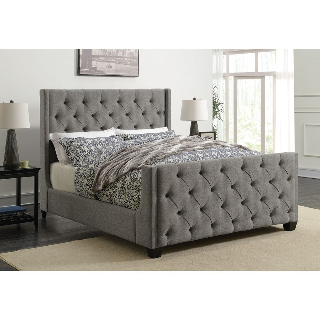 Queen Bed Frame Palma Upholstered Queen Bed With Button Tufting By Coaster At Dunk Bright Furniture
