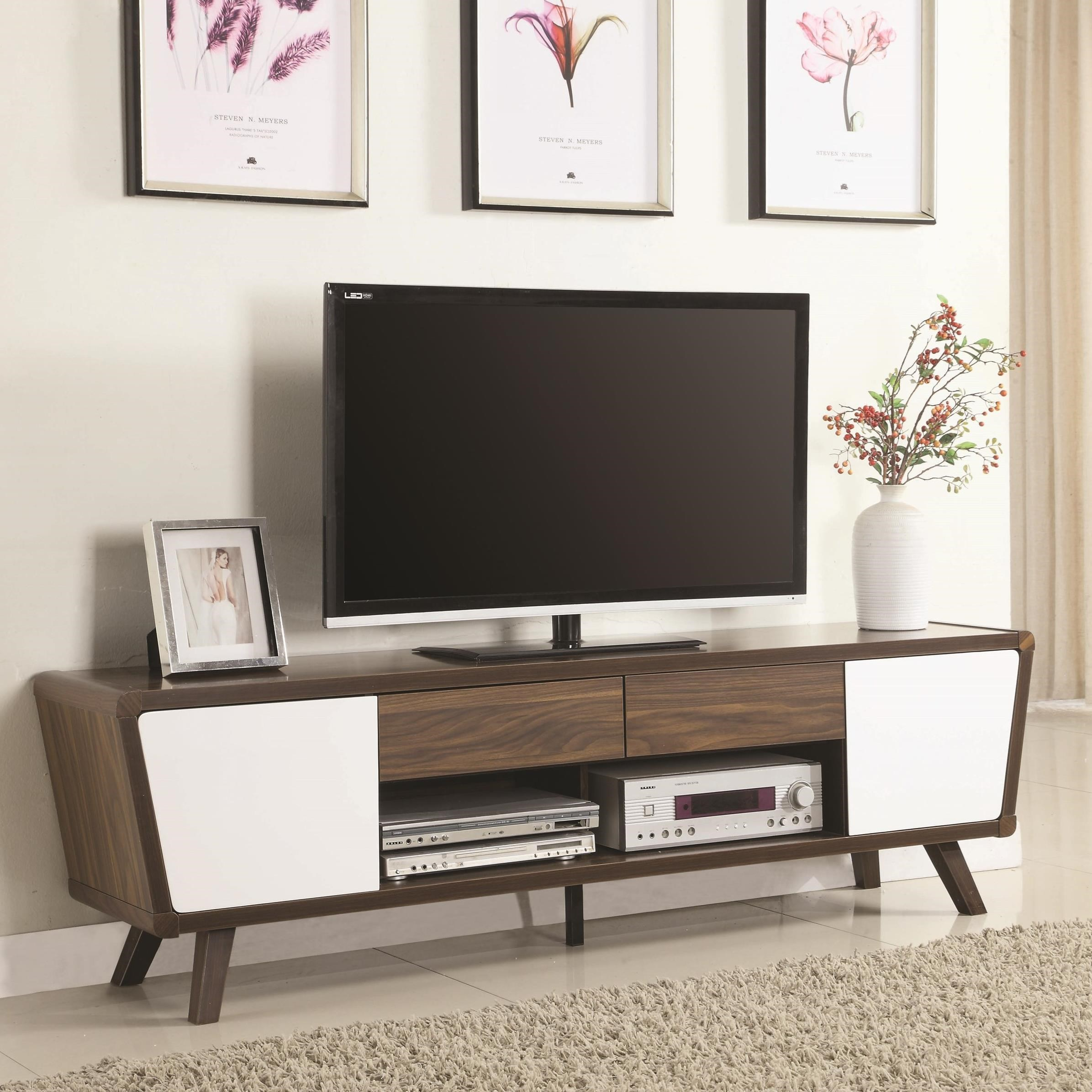 Modern Tv Entertainment Units Two Tone Mid Century Modern Tv Console By Coaster At Dunk Bright Furniture