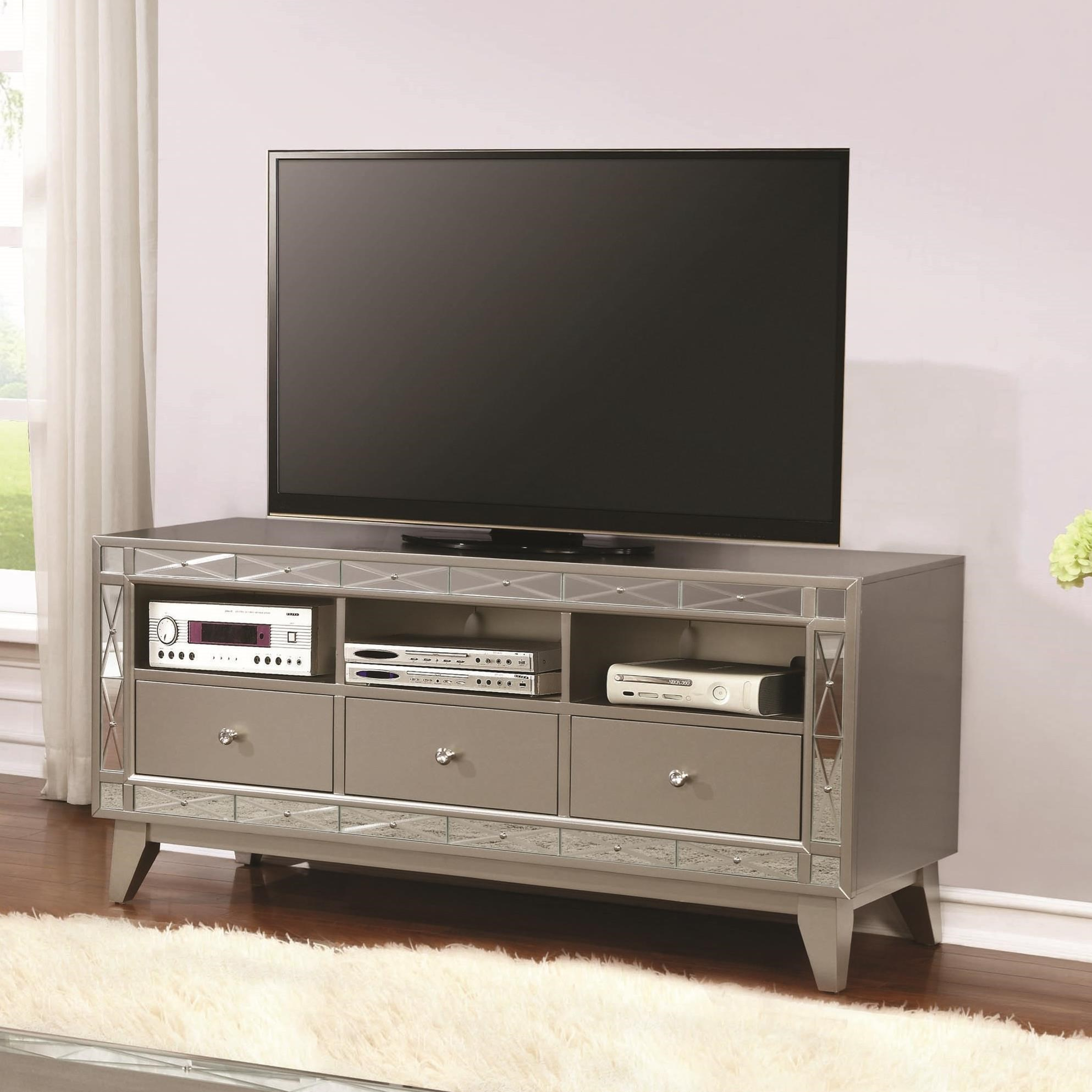 Tv Units Entertainment Units Metallic Tv Console With Mirrored Accent By Coaster At Value City Furniture